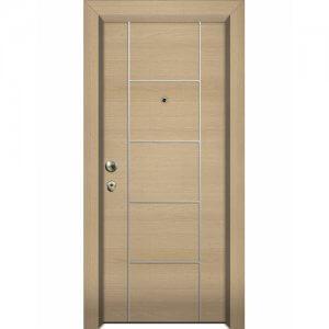 Πόρτα Ασφαλείας Laminate Με Διακοσμητικό Inox Κατηγορία 4